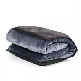 SALEN Selimut Bulu Lembut Travel Blanket Portable Soft Fleece - FC566 - Dark Gray - 3