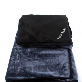 SALEN Selimut Bulu Lembut Travel Blanket Portable Soft Fleece - FC566 - Dark Gray - 5