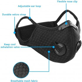 ACE Masker Activated Carbon Breathable Bicycle Mask PM 2.5 Anti Pollution - 311 - Black - 3