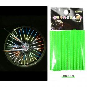 XC USHIO Stiker Reflektif Mini Velg Jari Ban Sepeda 12 Strip - B-0001 - Green