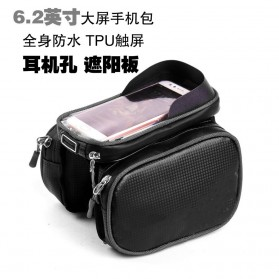 Green Travel Tas Sepeda Handlebar Smartphone Screen Touch Waterproof 6.2 Inch - GT01 - Black