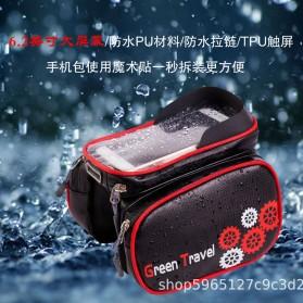 Green Travel Tas Sepeda Handlebar Smartphone Screen Touch Waterproof 6.2 Inch - GT01 - Black - 3