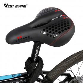 WEST BIKING Sadel Sepeda Bike Saddle Leather Model Absorber Ball with Tail Light - YP0801083 - Black/Green - 3