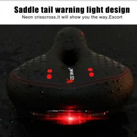 WEST BIKING Sadel Sepeda Bike Saddle Leather Model Absorber Ball with Tail Light - YP0801083 - Black/Green - 4
