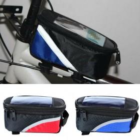 FAROOT Tas Sepeda Waterproof Storage Front Frame Cycling Smartphone Bag - AS689 - Black/Red