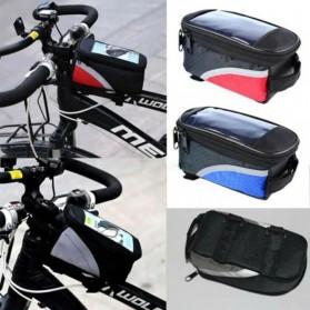 FAROOT Tas Sepeda Waterproof Storage Front Frame Cycling Smartphone Bag - AS689 - Black/Red - 3