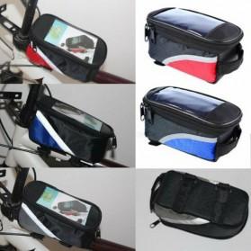 FAROOT Tas Sepeda Waterproof Storage Front Frame Cycling Smartphone Bag - AS689 - Black/Red - 4