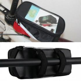 FAROOT Tas Sepeda Waterproof Storage Front Frame Cycling Smartphone Bag - AS689 - Black/Red - 5