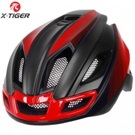 X-TIGER Helm Sepeda Ultralight Cycling Bike Cap with Tail Light - X-TK-06 - Black/Red