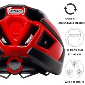 X-TIGER Helm Sepeda Ultralight Cycling Bike Cap with Tail Light - X-TK-06 - Black/Red - 2