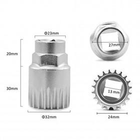 Kunci Crank Rantai Sepeda Wheel Spoke Spanner Wrench Repair Kit - MO1804 - Silver - 2