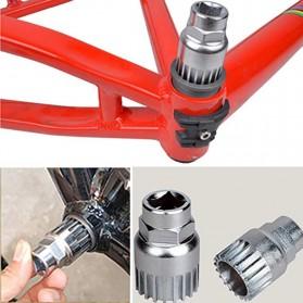 Kunci Crank Rantai Sepeda Wheel Spoke Spanner Wrench Repair Kit - MO1804 - Silver - 4