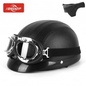 BSDDP Helm Catok Sepeda Motor Model Retro Vintage with Goggles - RH-A0318 - Black