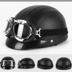 BSDDP Helm Catok Sepeda Motor Model Retro Vintage with Goggles - RH-A0318 - Black - 2