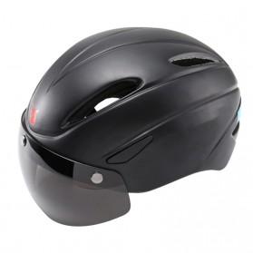 BIKEBOY Helm Sepeda Aero EPS Magnetic Visor Removable Lens - 11002 - Black