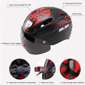 BIKEBOY Helm Sepeda Aero EPS Magnetic Visor Removable Lens - 11002 - Black - 4