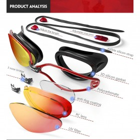 Kacamata Renang Anti Fog UV Protection - GOG-3551 - Black - 8