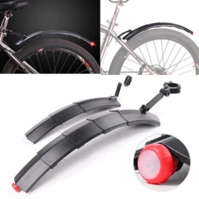 ROBESBON Spakbor Sepeda Depan & Belakang Telescopic Folding MTB Bike Fender with Tail Light - YQ078 - Black