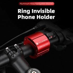 CYCLINGBOX Holder Smartphone Sepeda Aluminium Invisible Handlebar Bracket Anti Slip - CB-683 - Black - 2