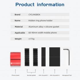CYCLINGBOX Holder Smartphone Sepeda Aluminium Invisible Handlebar Bracket Anti Slip - CB-683 - Black - 7