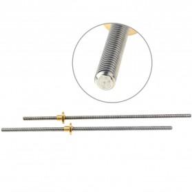 VENSTPOW 3D Printer CNC Trapezoidal Rod Screw Thread 2mm 400mm - T8 - Silver - 6