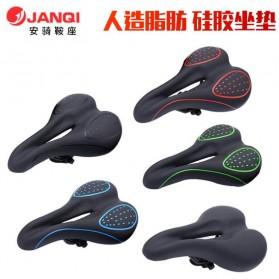 JANQI Jok Sadel Sepeda Bike Saddle Silicone Gel Cushion PU Leather - Black - 4