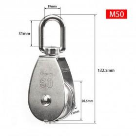 ASOL Katrol Kerekan Mini Serbaguna Swivel Pulley Stainless Steel Size M50 - Silver