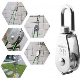 ASOL Katrol Kerekan Mini Serbaguna Swivel Pulley Stainless Steel Size M50 - Silver - 2