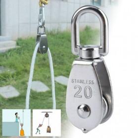 ASOL Katrol Kerekan Mini Serbaguna Swivel Pulley Stainless Steel Size M50 - Silver - 3
