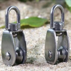 ASOL Katrol Kerekan Mini Serbaguna Swivel Pulley Stainless Steel Size M50 - Silver - 7