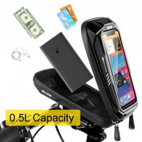 WILD MAN Tas Sepeda Smartphone Case Holder Handlebar Hard Shell Waterproof 0.5L - X-3 - Black - 6