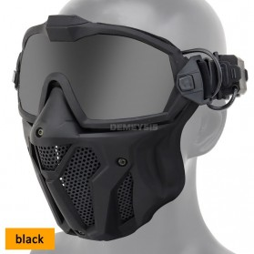 WST Masker Motor Topeng Airsoft Gun Paintball Full Face Anti Fog With Fan - MA-126 - Black