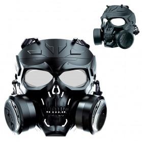 SKG Masker Motor Topeng Airsoft Gun Paintball With Fan Model Tengkorak Skull - M10-2 - Black - 3
