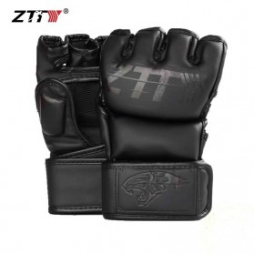 ZTTY Sarung Tangan Tinju Half Finger Boxing MMA Kick Boxing Muay Thai PU Leather L - ZTTY20 - Black