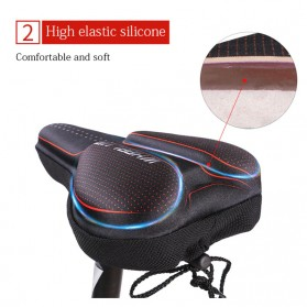 WHEEL UP Cover Jok Sadel Sepeda Breathable Silicone Gel - CH659 - Black/Red - 4