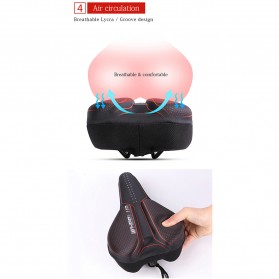 WHEEL UP Cover Jok Sadel Sepeda Breathable Silicone Gel - CH659 - Black/Red - 8