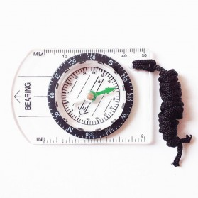 Olahraga & Outdoor - LumiParty Kompas Mini Professional Scale Ruler Outdoor Hiking - XC-MN0010 - Black