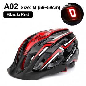 GUB Helm Sepeda Bicycle Road Bike Helmet EPS Foam LED Light - A02 - Black/Red - 1