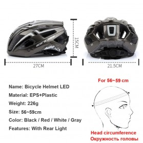 GUB Helm Sepeda Bicycle Road Bike Helmet EPS Foam LED Light - A02 - Red/Black - 3