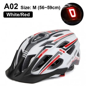 GUB Helm Sepeda Bicycle Road Bike Helmet EPS Foam LED Light - A02 - White/Black