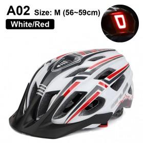 GUB Helm Sepeda Bicycle Road Bike Helmet EPS Foam LED Light - A02 - White/Black - 1