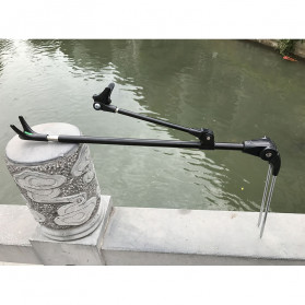 Lixada Bracket Joran Pancing Ikan Adjustable Holder 2.4M - V-003 - Black - 6