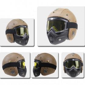TaffSPORT BOLLFO Kacamata Goggles Mask Motor Retro Anti Glare Windproof - MT-01 (OBRAL RETAK HALUS) - Black/Brown - 4