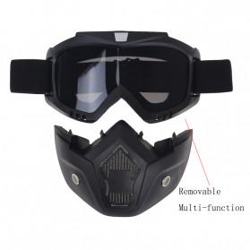 TaffSPORT BOLLFO Kacamata Goggles Mask Motor Retro Anti Glare Windproof - MT-01 (OBRAL RETAK HALUS) - Black/Brown - 5