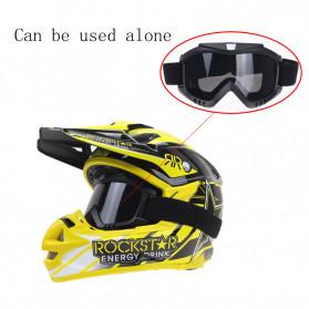 TaffSPORT BOLLFO Kacamata Goggles Mask Motor Retro Anti Glare Windproof - MT-01 (OBRAL RETAK HALUS) - Black/Brown - 8