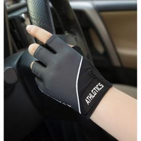 ATHLGTICS Sarung Tangan Fitness Gloves Olahraga Half Finger Size M - Q850 - Gray - 6