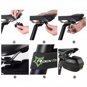 Rockbros Tas Jok Sepeda Saddle Safety Bag Waterproof - B4 - Black - 5