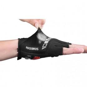 Rockbros Sarung Tangan Sepeda Half Finger Shock Absorber Size XL - S143 - Black - 2
