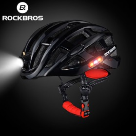 ROCKBROS Helm Sepeda Light Cycling Bike Helmet with Headlight - ZN1001 - Black