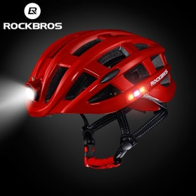 ROCKBROS Helm Sepeda Light Cycling Bike Helmet with Headlight - ZN1001 - Red